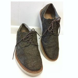 TOMS | Brown Tweed Lace Up Loafer Slip-Ons EUC